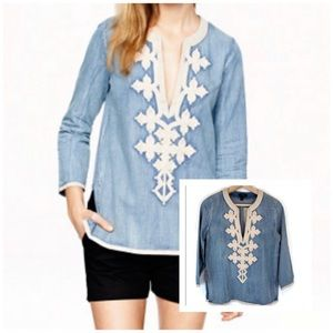 J. Crew Blue Chambray Embroidered Tunic Top